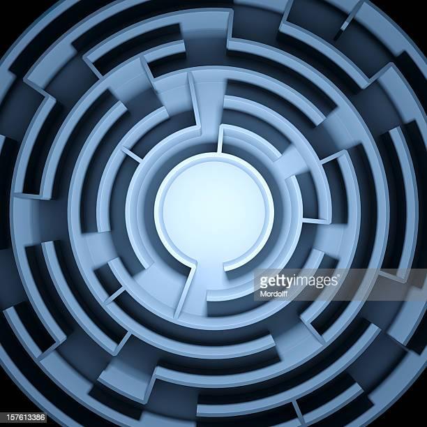 Blaue abstrakte kreisförmige Labyrinth und einem Labyrinth gestaltet ist