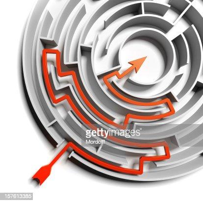 Abstrait blanc Solution du labyrinthe circulaire