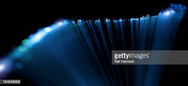Abstract close-up of top section of a fiber optic lamp : Stock Photo
