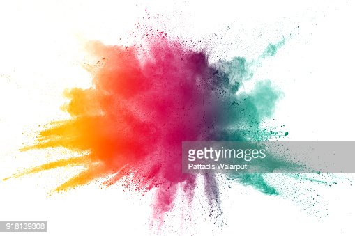 explosion de poudre couleur abstraites sur fond blanc. Figer le mouvement de projection de poussière. : Photo