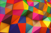 Vibrant color triangular shapes background. Colorful abstract shapes backdrop.