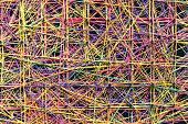 Abstract Colorful Linked Strings Background, Spider Connection Concept, Large Network Traffic