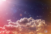 Abstract colourful dreamy sky with romantic soft mood