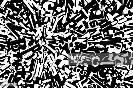 Abstract Composition With Letters And Numbers Stock Photo
