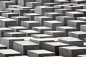 Abstract concrete blocks at the Jewish Memorial, Berlin, Germany