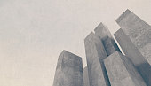 Abstract architecture background, showing massive city buildings and skyscrapers made of concrete with no windows, on a stone textured sky. Buildings look like a monument made with blank columns, goin