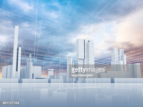 Abstract contemporary city background 3 d : Stock Photo