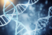 Abstract DNA wallpaper. Science and innovation concept. 3D Rendering
