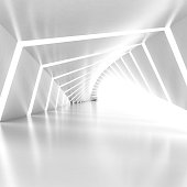 Abstract empty illuminated white shining bent corridor interior, 3d render illustration, square composition