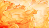 Abstract Fabric Flame Background, Artistic Waving Cloth Fractal Pattern, Yellow Orange Color