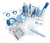 3d Illustration of Financial documents 3D graphs and pie charts. Pen and Calculator. Top view. Blue theme.