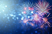 Abstract fireworks celebration on bokeh festive  light background. Fireworks for copy space and background