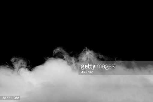 Abstract fog or smoke move on black color background : Stock Photo
