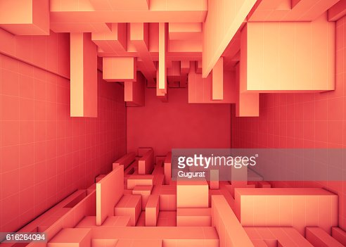Abstract geometric building tower Box Rectangular Orange Concept and background : Stock Photo