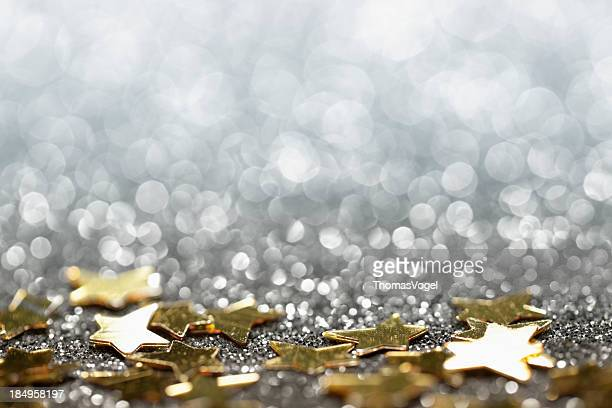 Abstract Glitter Background with Stars - Christmas Party Star