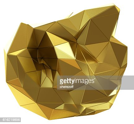 Abstract golden shape isolated on white : Stock Photo