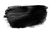Abstract grunge brush stroke made with slack acrylic paint, isolated on white. Perfect for your design.