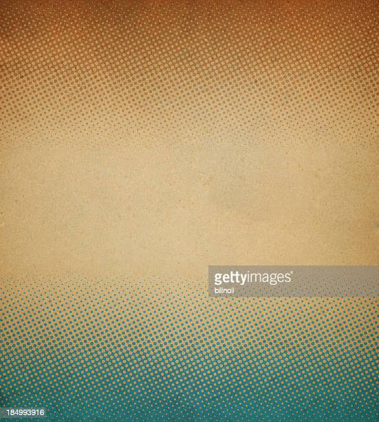 Abstract halftone pattern on stained antique paper