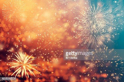 Abstrait fond avec feux d'artifice pour les fêtes de fin d'année : Photo
