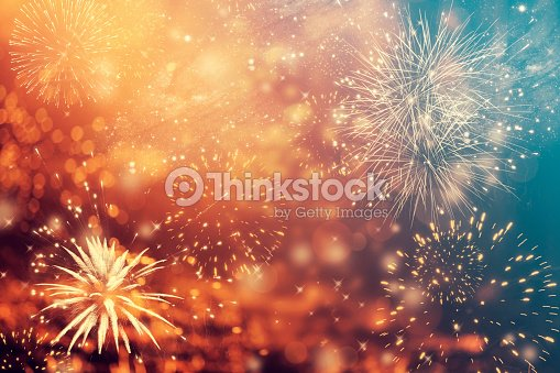 Abstract holiday background with fireworks : Stock Photo