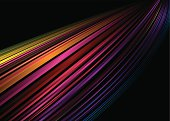 Abstract illustrated rainbow background with a black backdrop