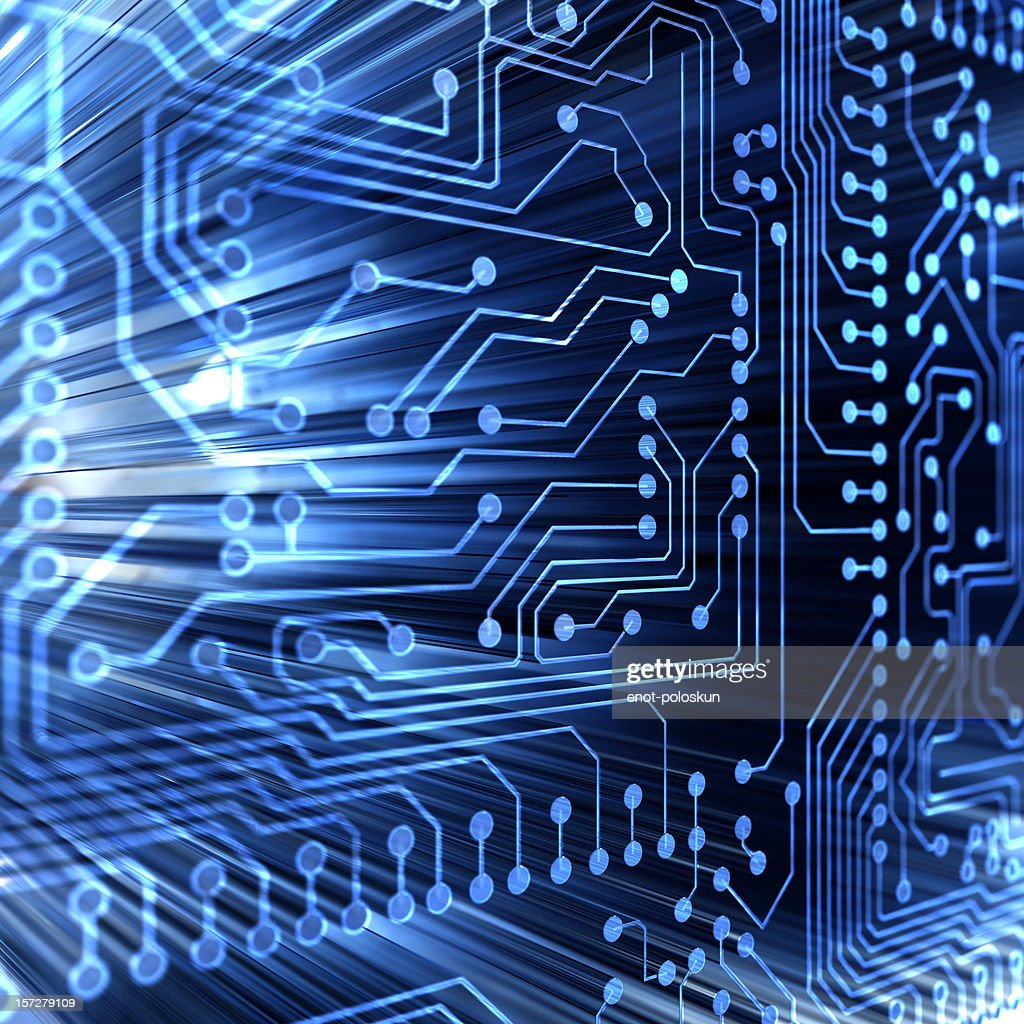 Abstract illustration of a computer microcircuit : Stock Photo