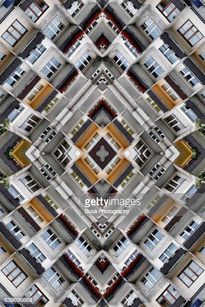 Abstract image: kaleidoscopic image of facade of ex communist housing project in Moscow, Russia
