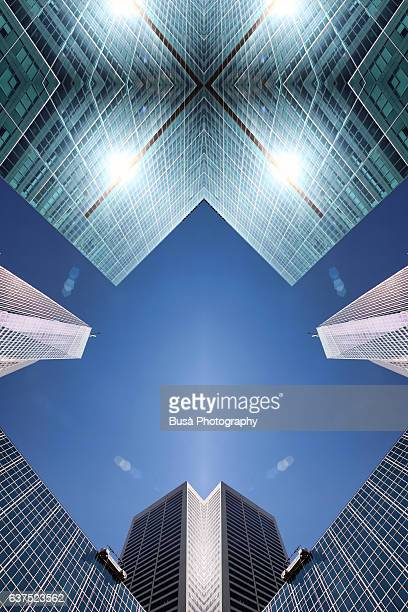 Abstract image: kaleidoscopic image of highrise office towers in Bryant Park, Manhattan, NYC, USA