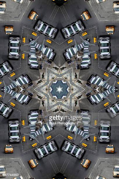 Abstract image: kaleidoscopic image of road markings and vehicles in the streets of Manhattan, New York City, USA
