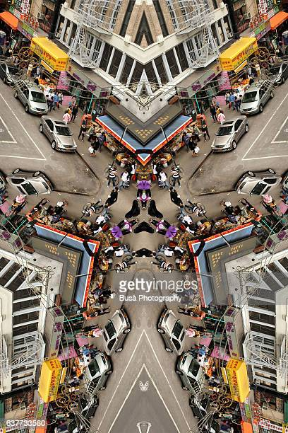 Abstract image: kaleidoscopic image of road markings in the streets of Manhattan, New York City, USA