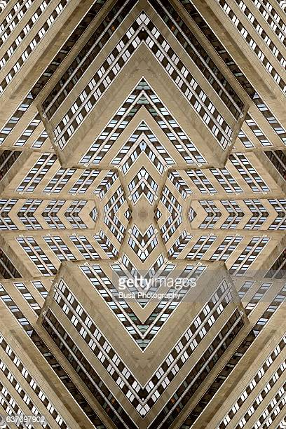 Abstract image: kaleidoscopic image of the facade of the Empire State Building tower in Midtown Manhattan, New York City, USA