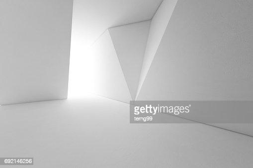 Design d'intérieur abstrait de l'architecture moderne avec sol vide et fond de mur blanc : Photo