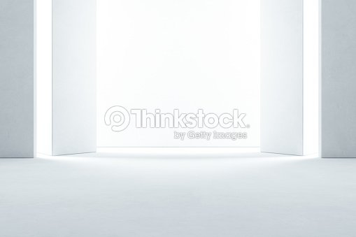 Abstract interior design of modern showroom with empty concrete floor and white wall background - Hall or stage 3d illustration : Foto de stock