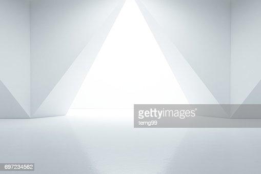 Abstrait design d'intérieur de la salle d'exposition moderne avec sol vide et fond de mur blanc : Photo