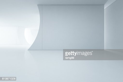Abstract interior design of modern white showroom with empty floor and concrete wall background : Stock Photo