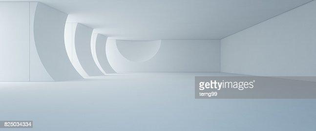 Design d'intérieur abstrait moderne blanc showroom avec plancher vide et un fond de mur en béton : Photo