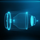 Abstract Jet Engine, Abstract Polygonal Consisting of Blue Dots and Lines. Jet Engine on Blue tint Background. 3D rendering