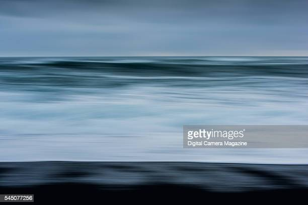 Abstract landscape view of waves on the coast of Iceland on October 13 2014