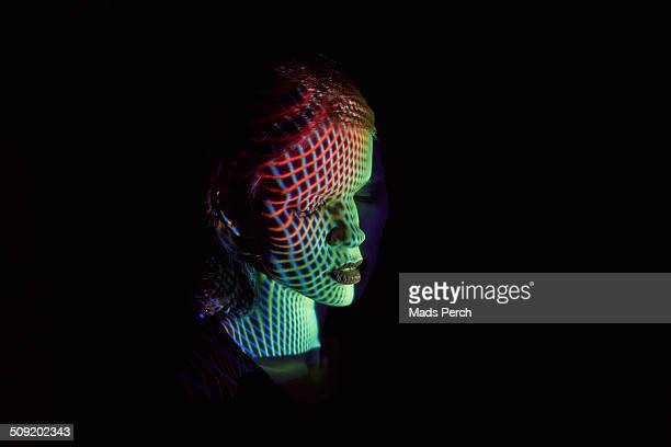 Abstract Lines Covering Woman's Face