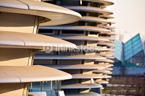 Abstract lines on architecture. modern architecture detail