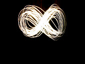 An abstract long exposure of the infinity symbol during the night.