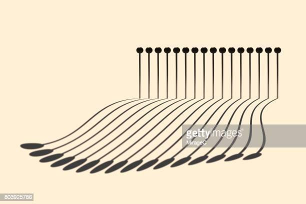 Abstract Long Shadow of Pins
