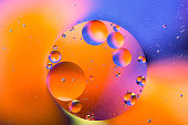 Abstract molecule sctructure. Water bubbles. Macro shot of air or molecule. Abstract background. Space or planets abstract background. Nice colorful gradient background. Selective focus.