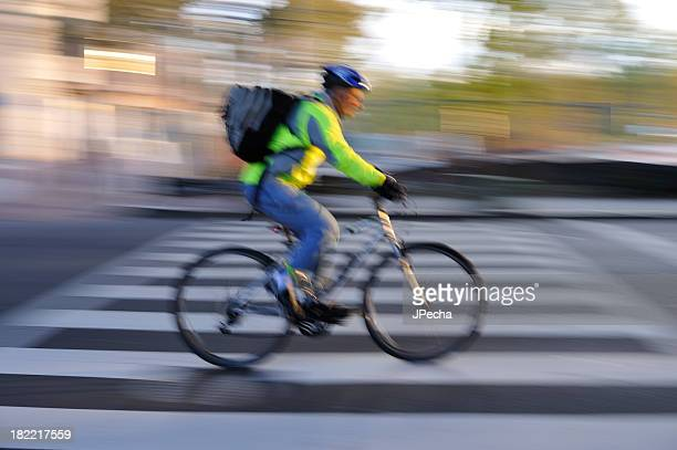 Abstract Motion Blur Bicycle Commuter with Backpack