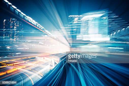 Abstract motion blurred city lights