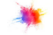 Abstract multi color powder explosion on white background.  Freeze motion of color dust  particles splashing. Painted Holi in festival