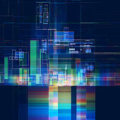 Abstract multicolored tech colorful background. 3d abstract glitch