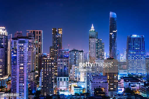 abstract night cityscape blue light filter - can use to display or montage on product : Stock Photo