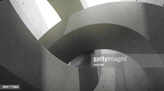 Résumé de l'espace de l'architecture avec le rythme des blocs de béton de cercle et de la lumière et l'ombre du soleil, rendu 3D : Photo