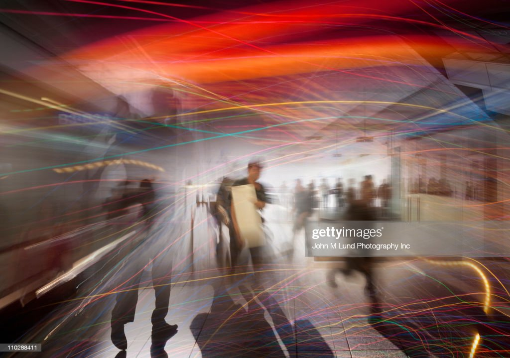Abstract of busy people rushing